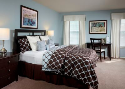 Furnished bedroom at Korman Residential at Willow Shores.