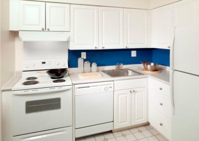 White kitchen with blue black splash at Willow Shores.